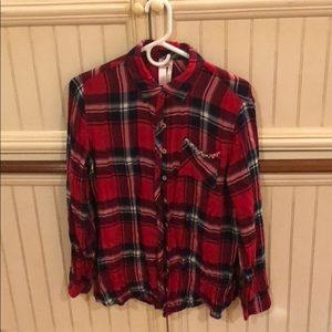 JUSTICE Red/Navy/White Plaid Flannel Shirt